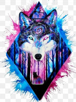 Painting - Gray Wolf Watercolor Painting Drawing PNG