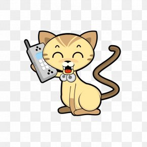 The Cat On The Phone - 3D Computer Graphics STL Clip Art PNG
