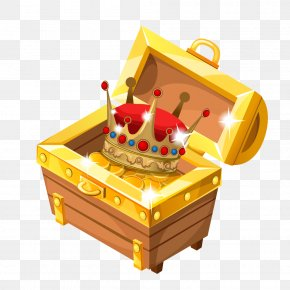 Cartoon Crown Gold Coin Box - Treasure Jewellery Clip Art PNG
