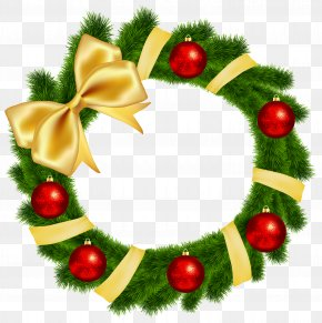 Christmas Wreath With Yellow Bow Transparent Clip Art Image - Wreath Christmas Clip Art PNG