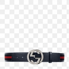 GUCCI Men Interlocking G Canvas With Leather Belt - Webbed Belt Gucci Leather Belt Buckle PNG