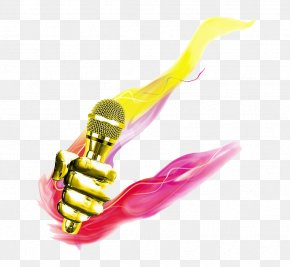 Gold Microphone Creative Mandarin Game - Microphone Aurkezle Poster News Presenter PNG