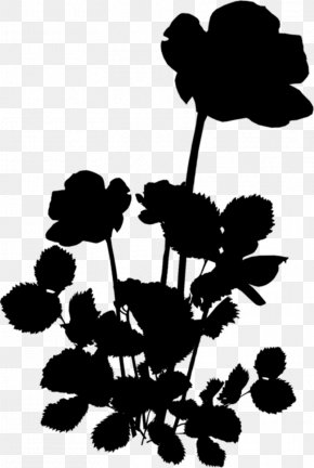 M Flower Plant Stem Leaf Clip Art - Black & White PNG