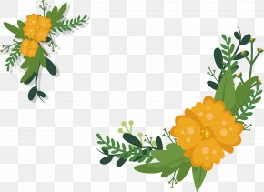 Red Flower Title Box - Yellow Flower Euclidean Vector PNG