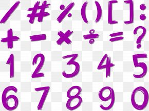 Purple Brush Numbers - Number Euclidean Vector Royalty-free Illustration PNG