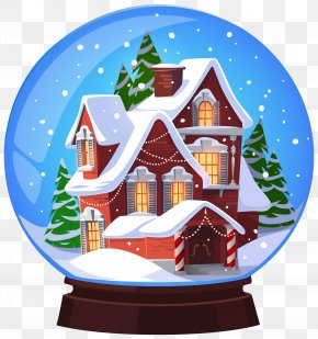 Christmas House Snowglobe Transparent Clip Art Image - Snow Globe Christmas Santa Claus Clip Art PNG