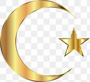 Golden Stars And The Moon - Star And Crescent Moon Clip Art PNG