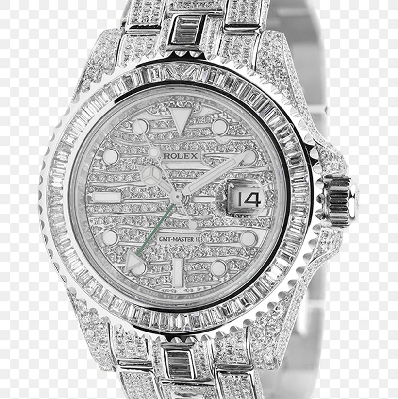 Rolex GMT Master II Rolex Datejust Rolex Submariner Rolex Daytona Watch, PNG, 715x822px, Rolex Gmt Master Ii, Black And White, Bling Bling, Brand, Diamond Download Free