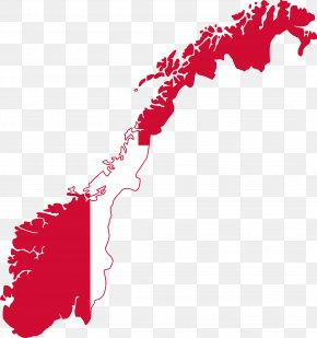 Map - Flag Of Norway Vector Map PNG