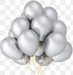 Transparent Silver Balloons Clipart - Balloon Party Metallic Color Birthday Silver PNG
