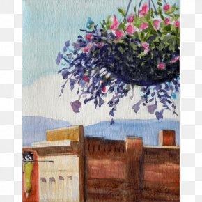 Rosehips - Sallie Bowen Studios Hanging Basket Acrylic Paint Still Life Watercolor Painting PNG
