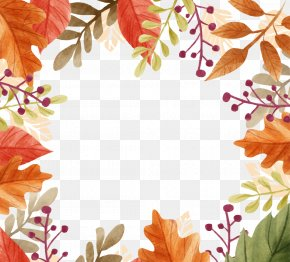 Beautiful Autumn Leaves Border - Autumn Craft Fair Clip Art PNG