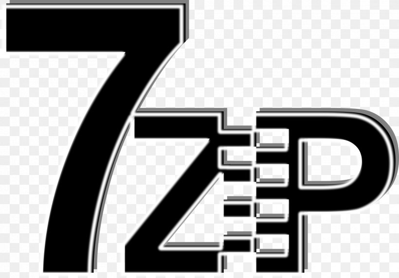 7-Zip Computer Software 7z Data Compression, PNG, 2400x1676px, Zip, Archive File, Black And White, Brand, Button Download Free