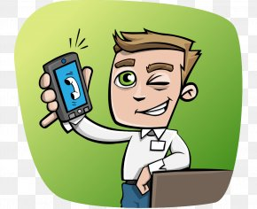 Hand-painted Cartoon Take The Phone Business Man With Short Hair - Finance Business Telephone Call Mobile Phone Margin PNG