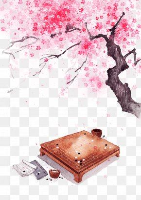 Pink Peach Tree - China Chinese Art Watercolor Painting Drawing PNG