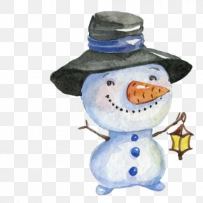 Snowman - Watercolor Painting Christmas Snowman Drawing PNG