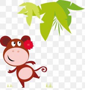 Wearing Flowers Cartoon Monkey Cartoon - Hippopotamus Cartoon Illustration PNG