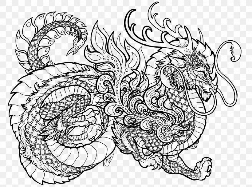 Coloring Book Mandala Chinese Dragon Child, PNG ...