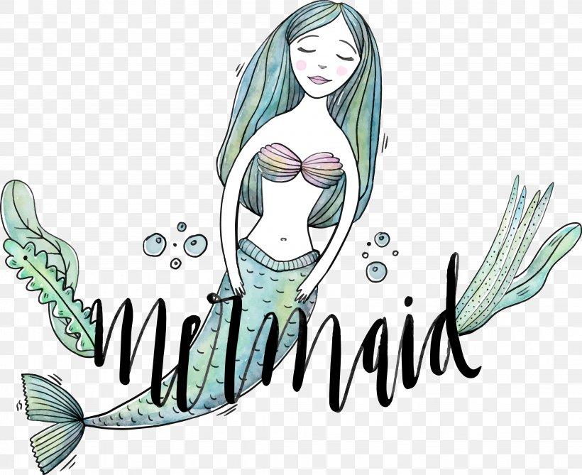 Mermaid Ocean Euclidean Vector Illustration, PNG, 4514x3683px, Watercolor, Cartoon, Flower, Frame, Heart Download Free