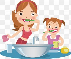 Mother And Daughter Brush Your Teeth - Tooth Brushing Dentistry Cartoon Toothbrush PNG