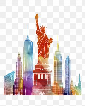 Watercolor New York Comics - New York City Poster Watercolor Painting Illustration PNG
