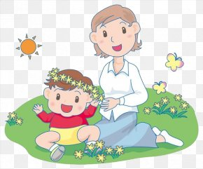 Mother And Baby Sitting On The Lawn - Mother's Day Clip Art PNG