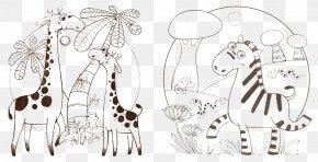 Artwork Giraffe And Zebra - Northern Giraffe Zebra Animation PNG