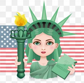 American Goddess Of Freedom - Statue Of Liberty Illustration PNG