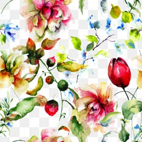 Beautiful Watercolor Flowers Background - Pink Flowers Painting Wallpaper PNG