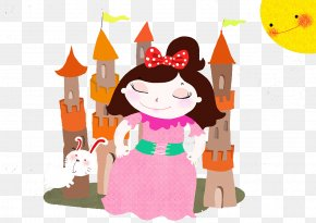 A Lovely Little Princess In A Dress - A Little Princess Cartoon Illustration PNG