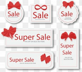 Vector Hand-drawn Bow Tag - Sticker Red Web Banner Label PNG