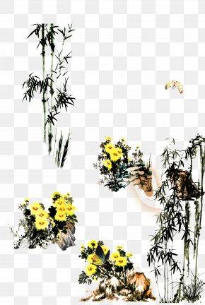 Bamboo Plant Flowers - Floral Design Ink Wash Painting Chinese Painting Bamboo PNG