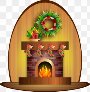 Santa Claus Candle Fireplace Christmas Day Clip Art PNG