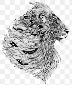 Lion - Lion Sleeve Tattoo Flash PNG