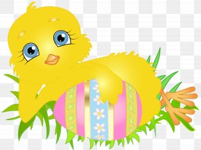 Easter Chick With Egg Clip Art Image - Easter Bunny Chicken Clip Art PNG