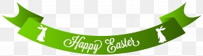 Green Happy Easter Banner Clip Art Image - Easter Bunny Red Easter Egg Clip Art PNG