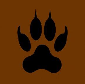 Bear Paw Print Stencil - Lion Footprint Paw Clip Art PNG