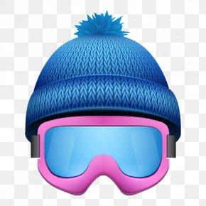 Blue Wool Ski Cap - Skiing Goggles Stock Illustration Illustration PNG
