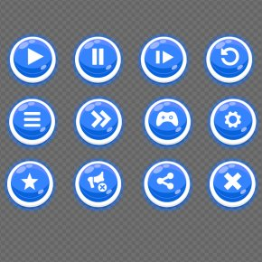 Blue GUI Buttons - Graphical User Interface Icon PNG