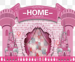 Cartoon Pink Fantasy Fairy Tale Castle Creative Background - Pink Cartoon Download PNG