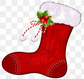 Large Transparent Christmas Red Stocking Clipart - Christmas Stocking Clip Art PNG