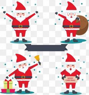 Four Santa Claus - Santa Claus Christmas Ornament Gift Clip Art PNG