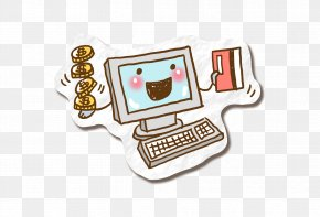 He Earned A Banknote - Computer Keyboard Drawing Cartoon PNG
