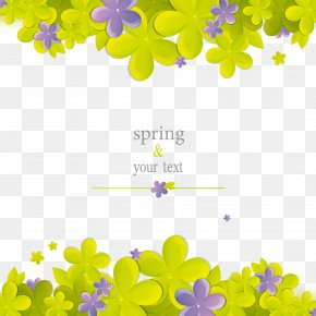 Spring Green Flowers Border - Flower Cartoon PNG