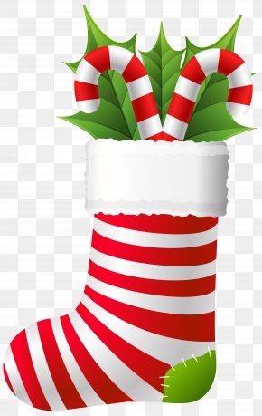 Christmas Stocking With Candy Canes Clip Art - Candy Cane Stick Candy Eggnog Peppermint PNG