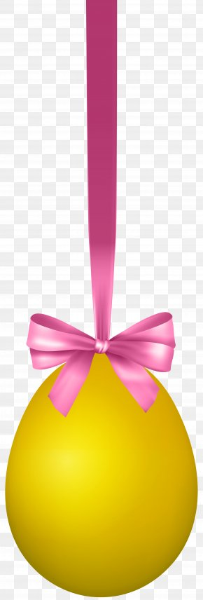 Yellow Hanging Easter Egg With Bow Transparent Clip Art Image - Yellow Easter Egg Design PNG
