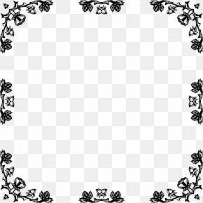 Rose Border Frame - Black And White Picture Frames Rose Clip Art PNG
