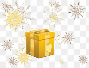 Transparent Yellow Christmas Gift With Snowflakes Clipart - Santa Claus Christmas Gift Clip Art PNG