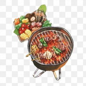 Barbecue Color Paintings Material Picture - Hot Dog Barbecue Hot Pot Watercolor Painting Drawing PNG