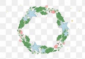 Blue And Green Beautiful Flower Frame - Watercolor Painting Christmas Flower PNG